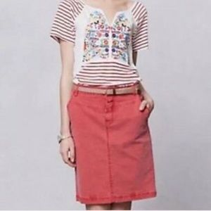 Anthropologie Holding Horses Denim Skirt